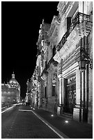 Palacio del Gobernio (government palace) at night. Guadalajara, Jalisco, Mexico (black and white)