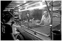 Food  stand in the street at night, Tlaquepaque. Jalisco, Mexico ( black and white)