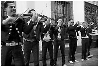 Mariachi band, Tlaquepaque. Jalisco, Mexico (black and white)