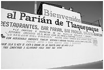 Wall with welcome sign, Tlaquepaque. Jalisco, Mexico ( black and white)