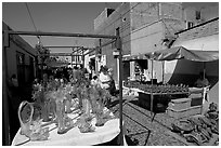 Stands in the sunday town-wide arts and crafts market, Tonala. Jalisco, Mexico (black and white)