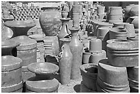 A variety of clay pots for sale, Tonala. Jalisco, Mexico (black and white)