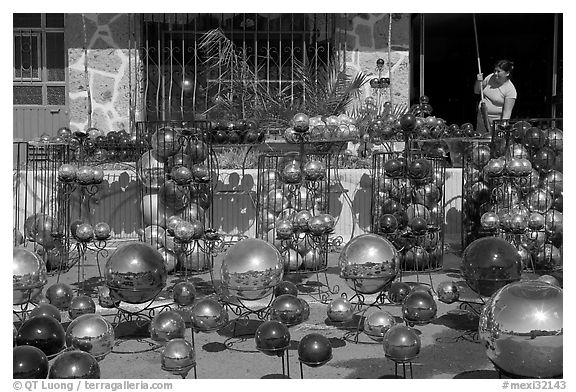 Glass spheres, Tonala. Jalisco, Mexico (black and white)