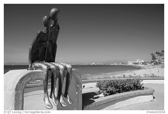 Sculpture called Nostalgia on the seaside walkway, Puerto Vallarta, Jalisco. Jalisco, Mexico (black and white)