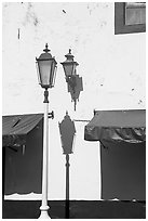 Wall with lamps, blue shades and blue painting, Puerto Vallarta, Jalisco. Jalisco, Mexico (black and white)