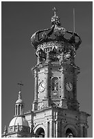 Crown of the cathedral, Puerto Vallarta, Jalisco. Jalisco, Mexico (black and white)
