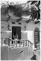 Women at the door of a house, Puerto Vallarta, Jalisco. Jalisco, Mexico (black and white)