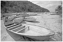 Small boats, Boca de Tomatlan, Jalisco. Jalisco, Mexico (black and white)