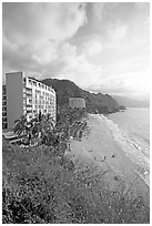 Resort building and beach, Puerto Vallarta, Jalisco. Jalisco, Mexico (black and white)