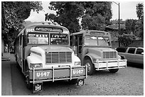 Public busses, Puerto Vallarta, Jalisco. Jalisco, Mexico (black and white)