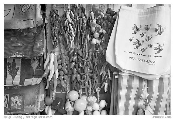 Crafts and bags for sale, Puerto Vallarta, Jalisco. Jalisco, Mexico (black and white)