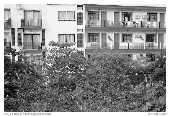 Appartment building above Rio Cuale, Puerto Vallarta, Jalisco. Jalisco, Mexico (black and white)