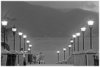 Footbridge above Rio Cuale at dusk, Puerto Vallarta, Jalisco. Jalisco, Mexico (black and white)