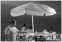Food vendor on the Malecon at night, Puerto Vallarta, Jalisco. Jalisco, Mexico (black and white)