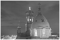Cathedral at night, Puerto Vallarta, Jalisco. Jalisco, Mexico (black and white)
