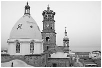 Templo de Guadalupe at dawn, Puerto Vallarta, Jalisco. Jalisco, Mexico (black and white)