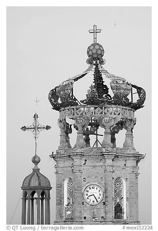 Crown of Templo de Guadalupe Cathedral , Puerto Vallarta, Jalisco. Jalisco, Mexico (black and white)