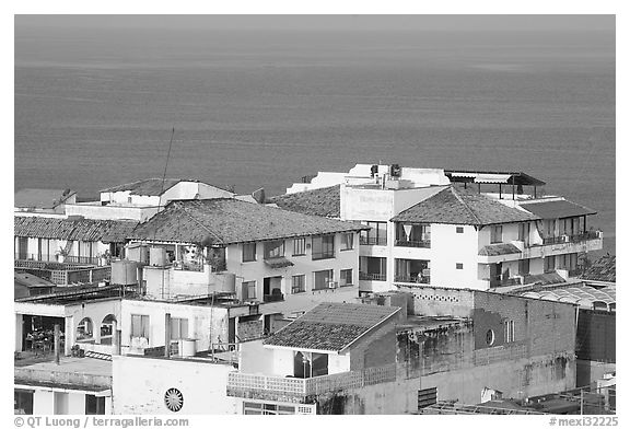 White adobe buildings with red tiled roofs, Puerto Vallarta, Jalisco. Jalisco, Mexico (black and white)