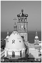 Templo de Guadalupe and ocean, morning, Puerto Vallarta, Jalisco. Jalisco, Mexico (black and white)