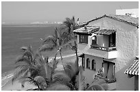 House, palm trees and ocean, Puerto Vallarta, Jalisco. Jalisco, Mexico (black and white)