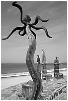 Sculpture on Circle of the Sea next to the beach, Puerto Vallarta, Jalisco. Jalisco, Mexico ( black and white)