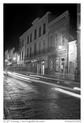 Street by night with light trails. Zacatecas, Mexico
