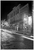 Street by night with light trails. Zacatecas, Mexico ( black and white)