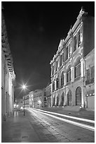 Avenue Hidalgo with Teatro Calderon at night. Zacatecas, Mexico (black and white)