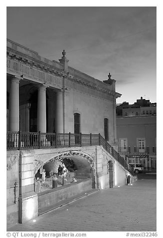 Goitia Square with nativity at down. Zacatecas, Mexico (black and white)