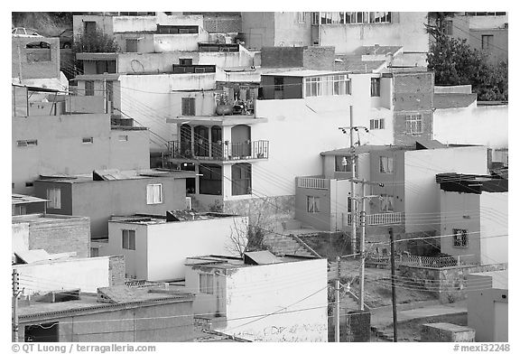 Vividly painted houses on hill. Zacatecas, Mexico (black and white)