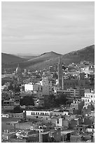 View of downtown with Temple of Fatina, morning. Zacatecas, Mexico ( black and white)