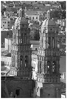Twin towers of the Cathedral in Churrigueresque style. Zacatecas, Mexico (black and white)