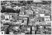 Colorful houses downtown seen from above. Zacatecas, Mexico (black and white)
