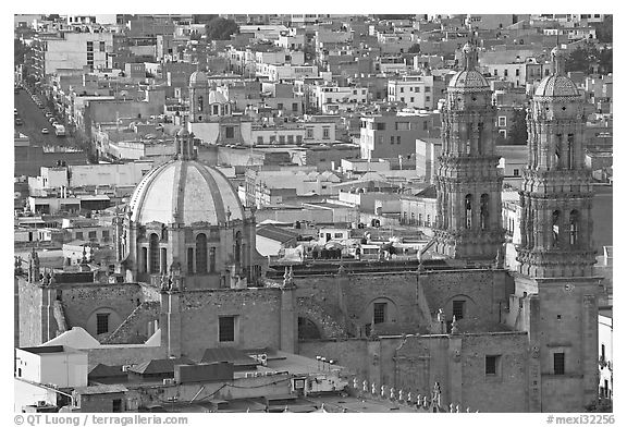 Catheral and rooftops. Zacatecas, Mexico (black and white)