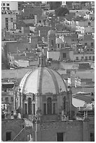 Dome of the Cathedral and rooftops. Zacatecas, Mexico (black and white)