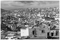 Panoramic view of the town from Paseo La Buffa. Zacatecas, Mexico (black and white)
