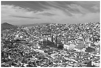 Panoramic view of the town from Paseo La Buffa, morning. Zacatecas, Mexico ( black and white)
