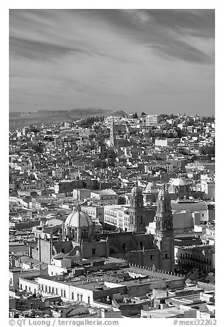 View of the cathedral and town. Zacatecas, Mexico (black and white)