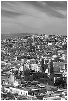 View of the cathedral and town. Zacatecas, Mexico ( black and white)