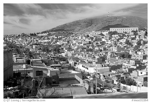 Panoramic view of the town. Zacatecas, Mexico (black and white)