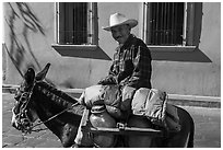 Man riding a donkey. Zacatecas, Mexico (black and white)