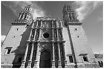 Facade of Cathdedral laced with Churrigueresque carvings, afternoon. Zacatecas, Mexico (black and white)