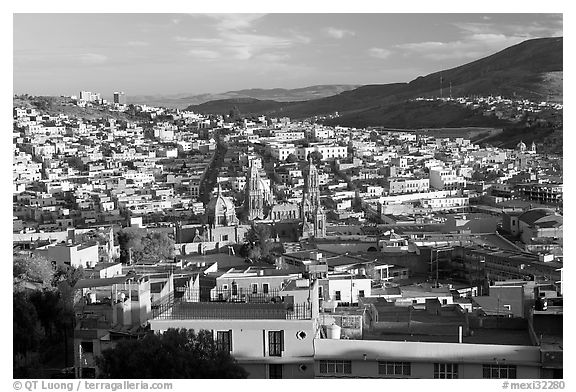 Panoramic view of town  from near the Teleferico, late afternoon. Zacatecas, Mexico (black and white)