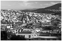 Panoramic view of town  from near the Teleferico, late afternoon. Zacatecas, Mexico ( black and white)
