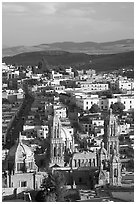 Cathedral and town, late afternoon. Zacatecas, Mexico ( black and white)