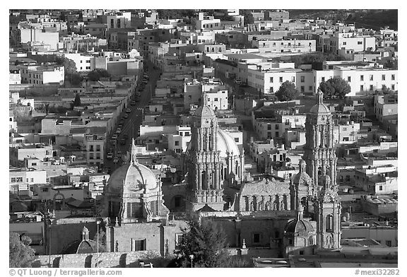 Cathedral and roofs seen from above, late afternoon. Zacatecas, Mexico (black and white)