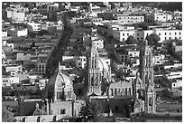 Cathedral and roofs seen from above, late afternoon. Zacatecas, Mexico ( black and white)