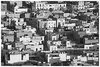 Houses on hill, late afternoon. Zacatecas, Mexico (black and white)
