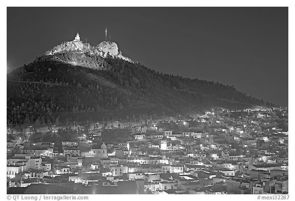 Cerro de la Bufa and town at night. Zacatecas, Mexico (black and white)