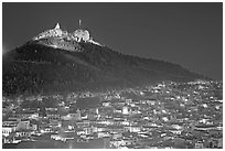 Cerro de la Bufa and town at night. Zacatecas, Mexico ( black and white)